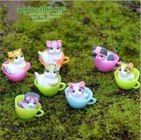ingrosso miniature fairy garden-12 pz / lotto Terrari in miniatura Fairy Garden Decorativa in resina Cat Figurine regalo artigianale Ornamento Terrario accessori