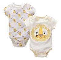 vêtements bébé fille panda achat en gros de-10 groupe Ins Baby enfants été fille garçon 100% coton barboteuse O-cou fox panda singe Imprimer manches courtes barboteuse enfants vêtements élégants