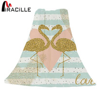 ingrosso tessuti in pile-Miracille 1 PC Bedding Sofa Throws Blanket Coral Fleece Fabric Golden Flamingos Pattern For Valentine's Day Present
