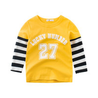 Wholesale retail girl shirt resale online - 2 to years Boys Girls fall Striped letter Tees children spring autumn tops kids boutique clothing retail t shirts R1AZB809TP