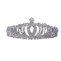 çocuk çocukları tiara toptan satış-Faahion Glitter Rhinestone Prenses Taç Tiara Kafa Saç Bandı Çocuk Kid Kız Saç Aksesuarları Için