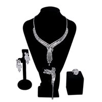 lüks zirkon kolye seti toptan satış-Lüks yeni Kadın düğün Takı Setleri ayarı Kübik zirkon 4 adet setleri (kolye + bilezik + küpe yüzük) ücretsiz kargo