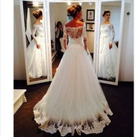 off white gürtel sale  groihandel-Top sale A Line Off The Shoulder Long Sleeve White Wedding Dresses Cheap Floor Length Tulle Lace Bridal Wedding Gowns Bow Belt