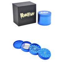 """Wholesale aluminum gift boxes - 63MM Height 4Layers Groove grinding""""Honeypuff""""Logo Aluminum Herb Grinder with Gift Box Crusher 3 Colors Available"""