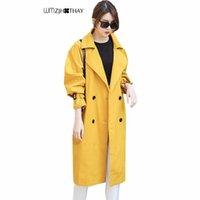casaco de trincheira de dobro duplo venda por atacado-Elegante Amarelo Casaco Blusão 2018 Outono Mulheres Moda Casual Selvagem Solto Feminino Trench Coats Longo Double Breasted Outerwear
