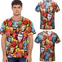 Wholesale Mens Colorful Fashion Shirts - Medusa Tags t shirts Italy designer T-shirts Colorful Full character Print Mens Slim Fit tee shirts 2018 Summer tshirt Short Sleeve Tops