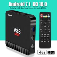 Wholesale Hdmi Design - tv box android V88 4GB 16GB rockchip RK3328 Quad-core best android tv box smart tv box with Piano design USB3.0 WiFi HDMI