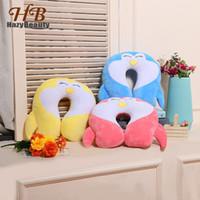 воздушная подушка для автомобиля оптовых-Cute Penguin Cartoon U-shaped Neck Support Pillow Kawaii Animal Cotton Soft Travel Plush Pillows for Office Nap Car Air Flight