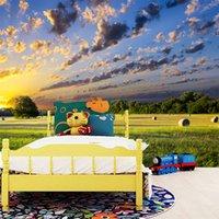 красивые обои природа оптовых-Индивидуальные фото 3D красивые голубое небо белые облака Природа Пейзаж обои фрески стены домашнего интерьера украшения обои