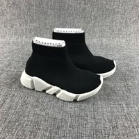 Wholesale White Baby Boy Socks - New Fashion Baby Kids Socks Boots Children Athletic Shoes Slip-On Casual Flats Shoes Speed Trainer Boy Girl High-Top Running Shoes All Black