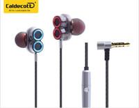 Wholesale headphones line microphone - In-ear Headphones Double-moving Hifi Bass Line Control Phone 4 Speakers Universal Earplug KDK-503 Wired Music Headset Microphone