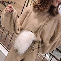 мягкая сумка-молния оптовых-Winter Women Plush Messenger Bag  Design Zipper Chain Shoulder Bags Trendy Girls Crossbody Handbag Mini Phone Female Bags