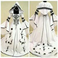 ingrosso cappelli da pizzo nuziale-2019 Vintage A-Line Black Lace White Satin Gothic Lace Abiti da sposa Abiti da sposa con cappello Fiori Vestidos De Mariee