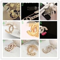 Wholesale african suits - 2018Women Luxury Brand Designer Shanel Brooch Rhinestone Pearl Suit Lapel Pin Corsage Famous Brand Jewelry Gift0452