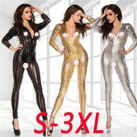 Wholesale sexy women wetsuit - New Hot Sexy Woman Gold and silver bdoystocking patent PU leather punching Underwear explosion wetsuit vulnerability Leotard 2018