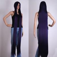 ingrosso capelli lunghi anime cosplay-Misto di colore viola scuro extra lunga parrucca Cosplay Costume per capelli Anime 60