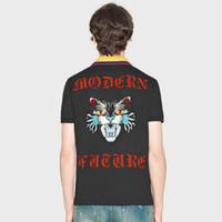 Wholesale Modern Men Shirts - 2018 summer designer luxury brand clothing men polo embroidery blue cat face modern future letter t-shirt casual women tshirt tee shirt
