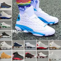 basketbol ayakkabıları nakliye toptan satış-2018 Yeni Hava 13 Erkekler basketbol ayakkabı Altın Beyaz DMP Tanımlayan Anlar Spor tasarımcısı ayakkabı Eğitmenler Koşu Sneakers ücretsiz kargo US8.0-13