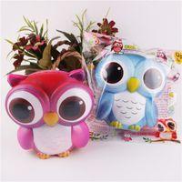 ingrosso regali arcobaleno per i bambini-Vendite calde Jumbo Squishy Bling Blue / Rainbow Owl lento aumento Kawaii ciondolo torta di pane giocattolo del capretto regalo