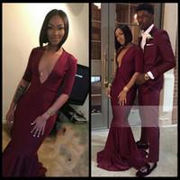 Wholesale Lavender Jersey Dress - Burgundy Long Prom Dresses 2018 Deep V Neck Half Sleeves Jersey Floor Length Black Girls Mermaid African Evening Gowns Party Dresses