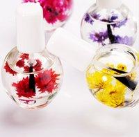 çivi jöle çiçekleri toptan satış-Tedavisi Için 12 ML Tırnak Canlandırıcı Tırnak Yağı Besleyici Jel Lehçe Nail Art Kuru Çiçekler Defender Tırnak Yağı Manikür