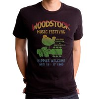 Wholesale fashion hippies - Summer 2018 Famous Brand Authentic Woodstock Music Festival Bird Guitar Logo Hippies Welcome 1969 T-shirt Band Logo Tee Shirt Fo