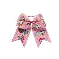 "Wholesale Hair Clip Handmade - 9style available printed grosgrain LOL ribbon 7"" Cartoon Hairbands Cute Girls Cheer Bow Handmade Scrunchies Hair Clips 10pcs"