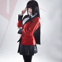 japonés caliente completo al por mayor-Hot Cool Cosplay Disfraces Anime Yumeko Jabami Japanese School Girls Uniforme Conjunto completo Chaqueta + Camisa + Falda + Medias + Corbata