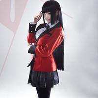 japonca sıcak dolu toptan satış-Sıcak Serin Cosplay Kostümleri Anime Yumeko Jabami Japon Okulu Kız Üniforma Tam Set Ceket + Gömlek + Etek + çorap + Kravat