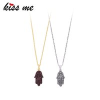 ювелирные изделия ручной работы оптовых-KISS ME Red Clear Hand Crystal Pendant Necklace Wholesale Gold Silver Color Chain Necklaces for Women Minimalist Jewelry