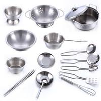 Wholesale Metal Toy Kitchen - Super anti fall stainless steel male girl children toy kitchen set 28tx W
