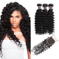 Wholesale brazilian human hair cheap prices for sale - Price Ishow Cheap A Brazilian Virgin Hair Deep Wave Bundles With x4 Lace Closure Unprocessed Virgin Human Hair Extensions