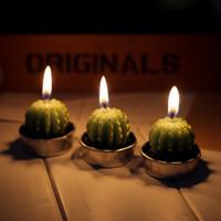 ingrosso a forma di tè luci-Cactus a forma di piante Flickering Flameless Tea light Flicker Tea Candle Light Candele matrimonio partito Decorazione della casa