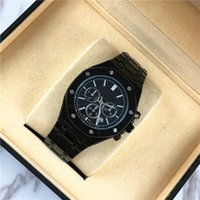 Wholesale bronze bracelet accessories - Luxury Men watch Decorations Subdials Gentleman Wristwatch luminous Gold Price Popular Steel Bracelet Chain Gifts Accessories