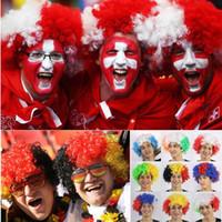 ingrosso coppa del mondo del cappello-2018 Coppa del Mondo Nazionale Francia Argentina Italia Tedesco Regno Unito Parrucca Cappello Fan Forniture per feste Esplosione Cuffia Festa di Carnevale Accessorie