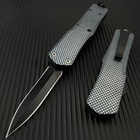 Wholesale assisted knives - Spring Assisted Tactical Automatic Hunting Camping Survival Knife Full Carbon Fiber Handle Stainless Steel Fixed Blade Stiletto Dagger