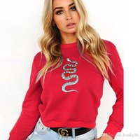 Wholesale long stocking hats - Large Stock Red Color 2017 Autumn Women Snake Embroidery Slim Sweatshirts Mujeres Pullover Sweater No Hat Tops Clothing