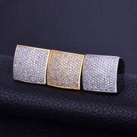 anillo de oro circonio cz cz al por mayor-Anillo de los hombres Bling Bling Circón Cúbico Oro Plata Material de cobre Helado Completo CZ Anillos Cuadrados Moda Hip Hop Joyería Tamaño 7-12