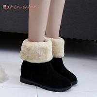 yeni kürk botları toptan satış-Yeni Kadın rahat Kış Sıcak Peluş Kürk kar Botları ayakkabı kadın Yuvarlak Ayak Slip-On Orta Buzağı Boots ayakkabı mujer artı boyutu 35-40 W678