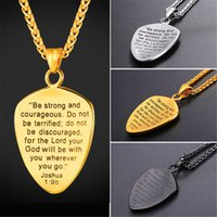 Wholesale engraved gold plate necklace - U7 Shield of Faith Pendant Necklace Joshua b Engraved Shield Stainless Steel Religious Gift Inspirational Jewelry GP2777