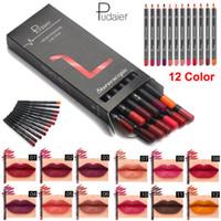 Wholesale 12pcs lip pencil resale online - 12pcs set Pudaier Lip liner Pencil Kit Waterproof Long lasting Contour Lip Liner Pen Nude Lip Pencils Cosmetic Professional Makeup Beauty