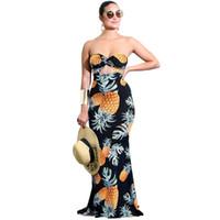 7b0a1805149 Femmes Tube Top Long Robe Ananas Imprimer Twist Avant Découper Taille Haute  Clubwear Casual Soirée Robe De Fête Vestidos De Festa