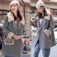 Wholesale uk jacket resale online - US CA AU New UK Fall Winter Women Simple Classic Fur Collar Coat and Jacket Female Outerwear manteau femme abrigos mujer