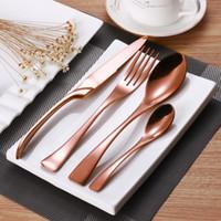 tenedor gotas al por mayor-Incrustación de oro 4 Unids / set Juego de cubiertos de oro rosa Conjuntos de vajilla de comida occidental de acero inoxidable Juego de vajilla de cuchillo tenedor Envío directo