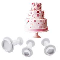 Wholesale types silicone paste - 3 Pcs round Type Cake Cuers Plunger Paste Fondant Sugar Decorating Sugarcraft Plunger Cuers Tools ZH849