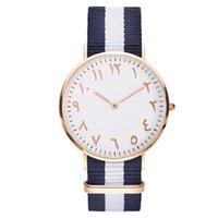 arabische mode für frauen großhandel-Top Luxury Brand Fashion Streifen Nylon Frauen Uhr Männer Quarz Armbanduhr Mode Arabisch Zahlen Montre Femme Uhr Weiblich