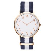 ingrosso moda araba per le donne-Top Luxury Brand Fashion Stripe Nylon Women Watch Men Orologio da polso al quarzo Numeri arabi di moda Orologio Montre Femme Clock Female