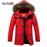 büyük kürk ceket ceketi toptan satış-QUNABO Kalın Aşağı Ceket ile 2018 Kış Ördek Aşağı Ceket kürk hood Çıkarılabilir Büyük Rakun Kürk Yaka Palto Için-40 derece 4XL