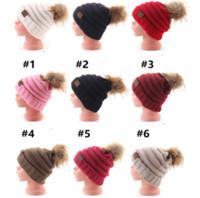 häkeln für weihnachten großhandel-Kid CC Mützen Hut Pom Pom Weihnachten Warme Strickmützen 13colors Winter Crochet Outdoor 2018 Rosa Schwarz Beige