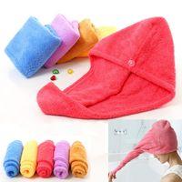 ingrosso cappelli di capelli spa-Cuffie da doccia per Magic Quick Dry Capelli in microfibra Asciugamano Asciugatura Turban Wrap Hat Caps Spa Tappi da bagno PX-T04